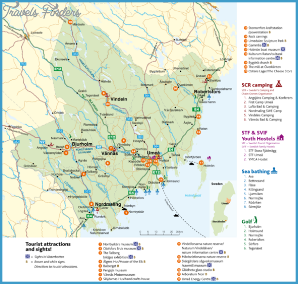 Sweden Map Tourist Attractions TravelsFindersCom