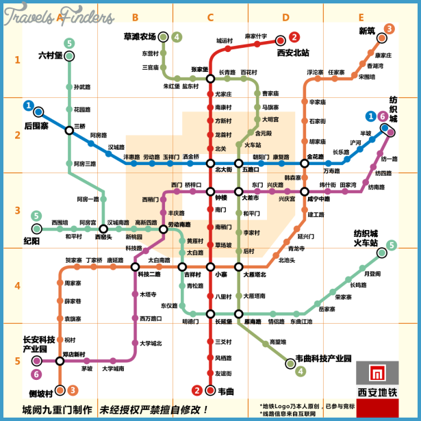 Xi\'an Subway Map | TravelsFinders.Com ®