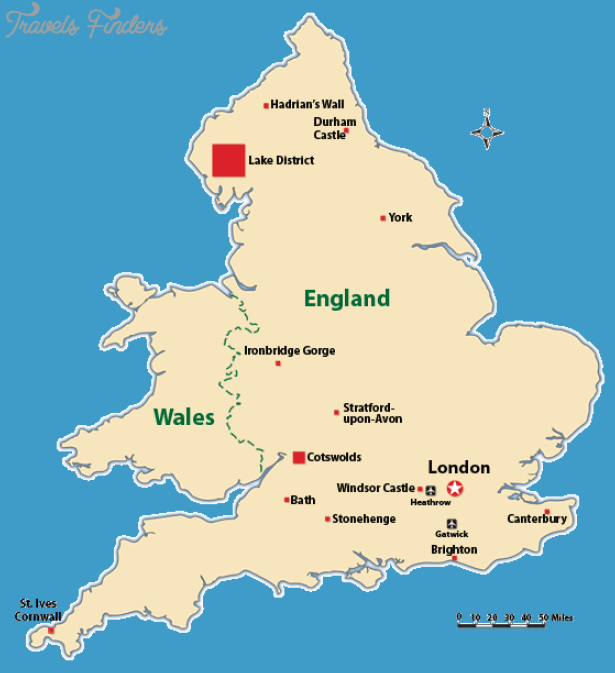 England Map Tourist At...