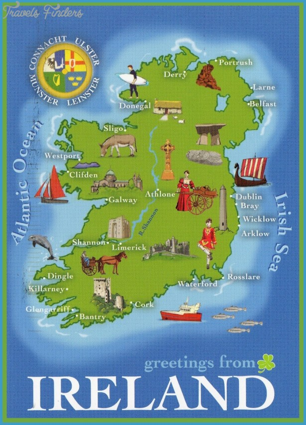 Ireland Points Of Interest Map.Map Of Ireland With Tourist Sites