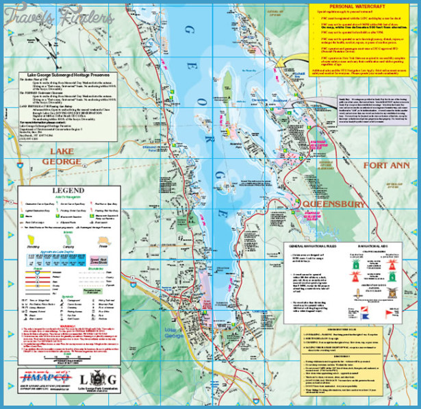 New York map lake george - TravelsFinders.Com ®