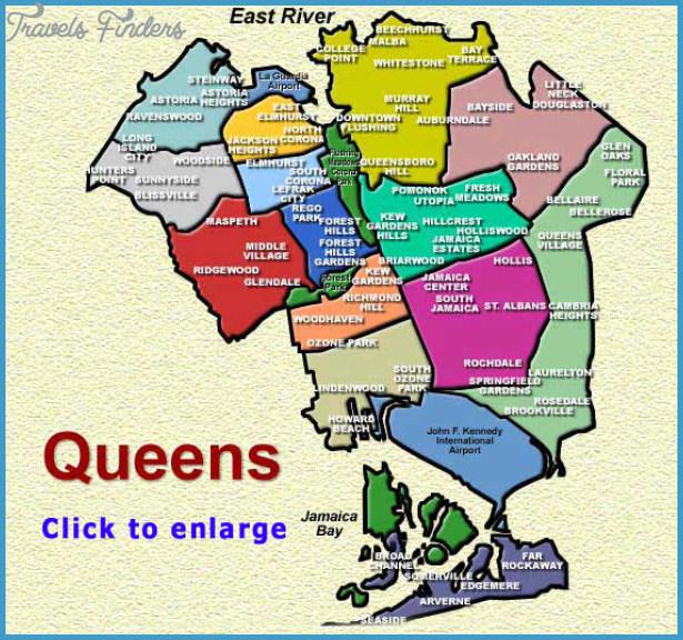 New York map queens - TravelsFinders.Com