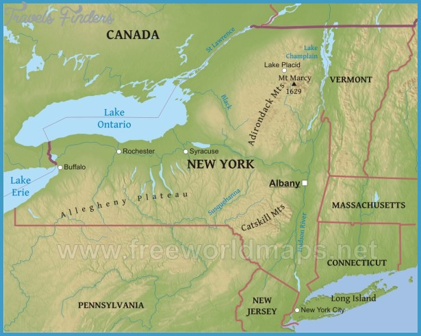 Map Of New York Rivers.New York Map Rivers Travelsfinders Com