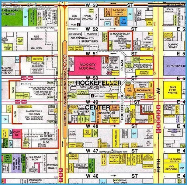 Subway Map To Rockefeller.New York Map Rockefeller Center Travelsfinders Com
