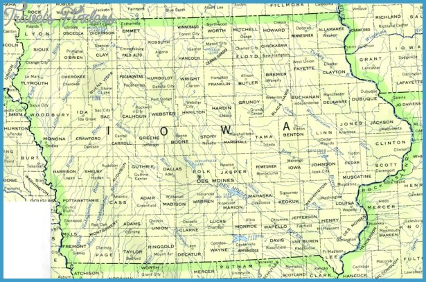 Iowa Map Tourist Attractions TravelsFindersCom