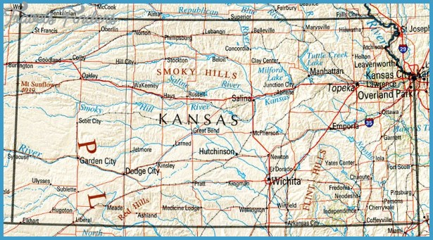 Kansas Map Tourist Attractions TravelsFindersCom