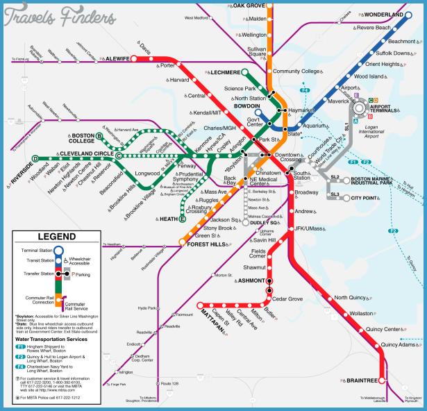 Subway Map Boston Mass.Massachusetts Subway Map Travelsfinders Com