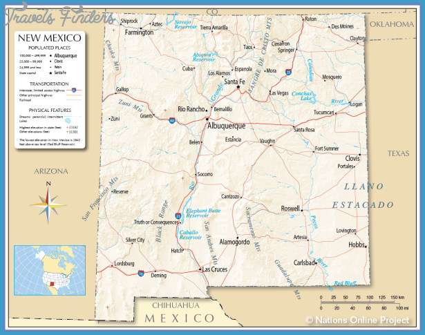 New Mexico Map Google New Mexico Map   TravelsFinders.®