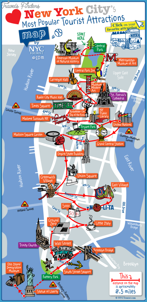 New york map tourist attractions travelsfinders com for Top ten attractions new york