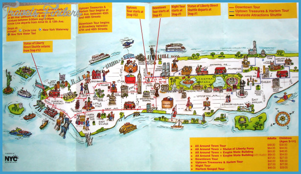 New York Map Tourist Attractions - TravelsFinders.Com ®