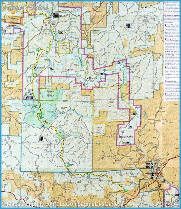 Ozark National Scenic Riverways Map Missouri