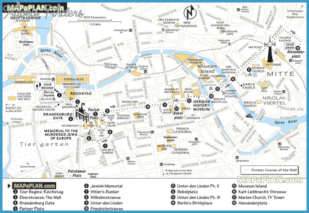 Berlin Map Tourist Attractions TravelsFindersCom