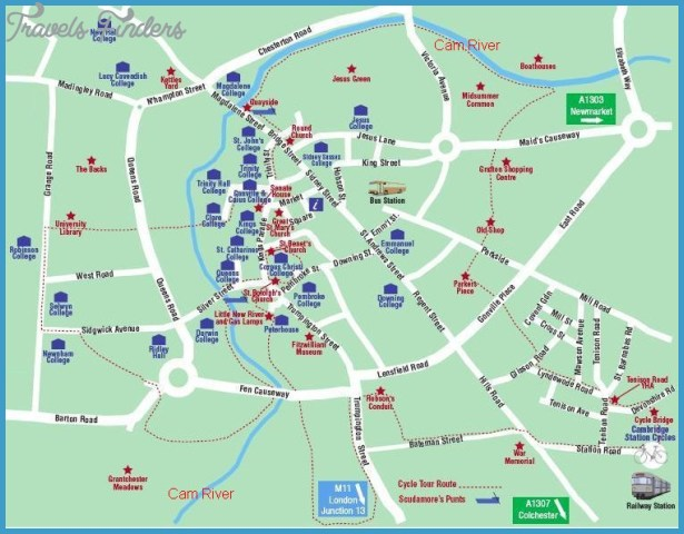 Cambridge Map Tourist Attractions TravelsFindersCom