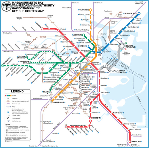 Cambridge Subway Map   TravelsFinders.®