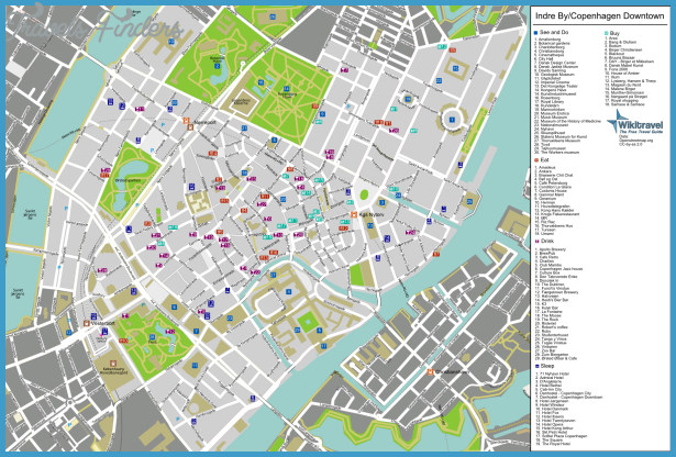 Copenhagen Map Tourist Attractions TravelsFindersCom