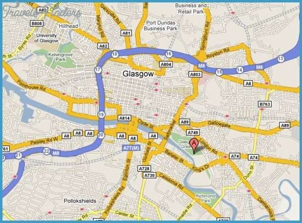 Glasgow Map Tourist Attractions TravelsFindersCom