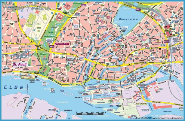 Hamburg Map Tourist Attractions TravelsFindersCom