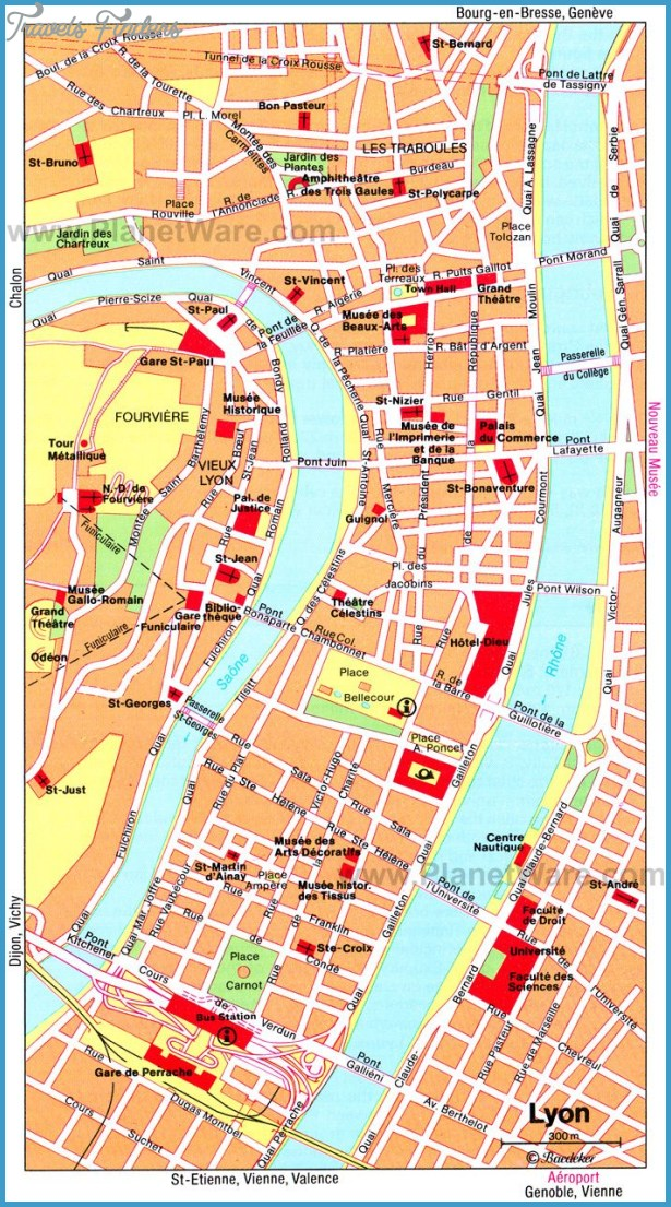 Lyon Map Tourist Attractions - TravelsFinders.Com