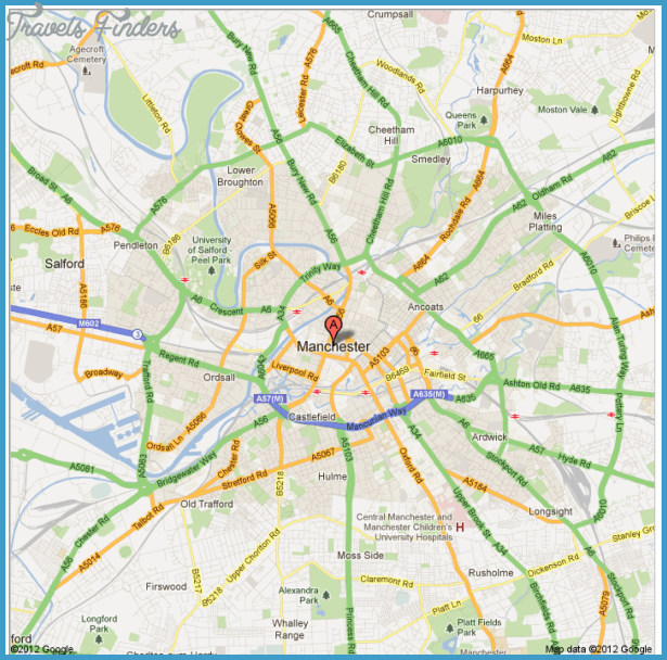 Manchester Map Travel Map Vacations TravelsFindersCom - London map manchester