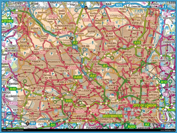 North Of London Map.North London Map Travelsfinders Com