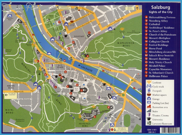 Salzburg Map Tourist Attractions TravelsFindersCom