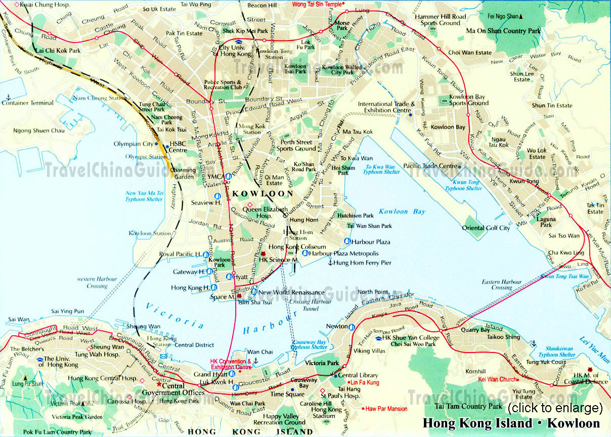 Hong Kong Map Tourist Attractions TravelsFinders Com
