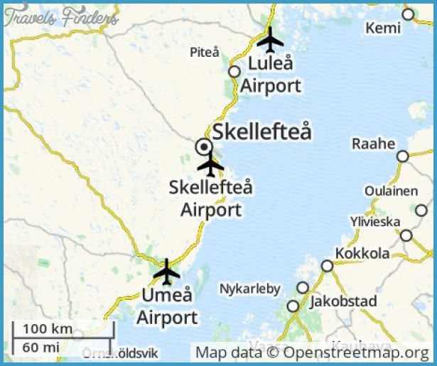 Skelleftea Sweden Map Travel Map Vacations TravelsFindersCom - Sweden map airports
