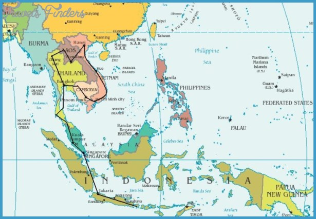 Southeast asia globetrotter travel map TravelsFindersCom