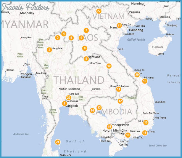 Southeast asia travel route map TravelsFindersCom