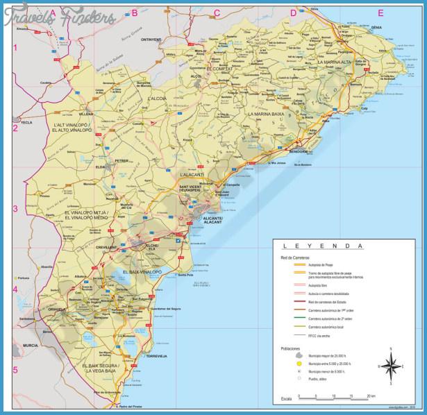 Alicante Map - TravelsFinders.Com