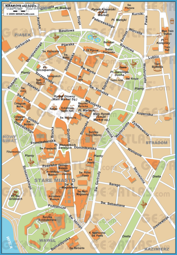 Krakow Map Travelsfinders Com