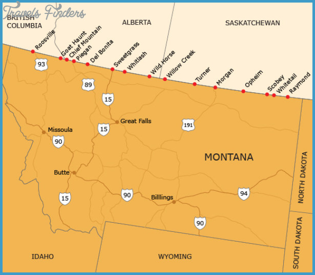 MAP OF MONTANA US Travel Map Vacations TravelsFindersCom - Montana in us map