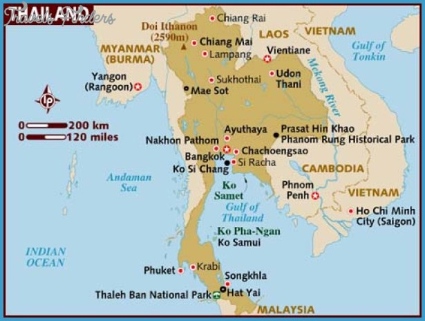 Thailand Map Tourist Attractions TravelsFindersCom
