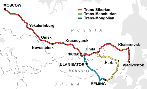 Trans Siberian Railway Route Russia Travel Map Vacations