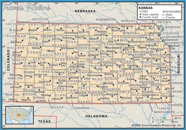 Kansas Map With Cities Travel Map Vacations TravelsFindersCom - Kansas state map with cities