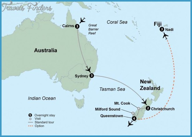 Map of new zealand and fiji travelsfinders australia new zeland fiji tour mapg sciox Image collections
