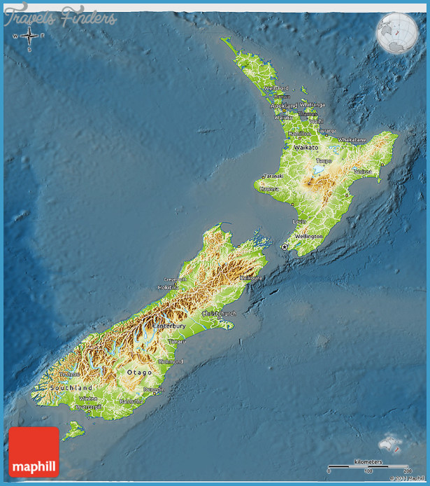 Topographic Map Of New Zealand.New Zealand Topographic Map Travelsfinders Com