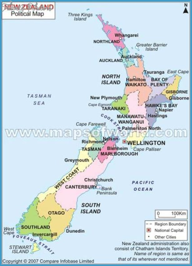 Political Map Of New Zealand - TravelsFinders.Com ®
