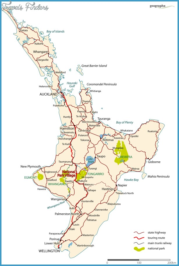 Map Of New Zealand North Island.Map New Zealand North Island Travelsfinders Com