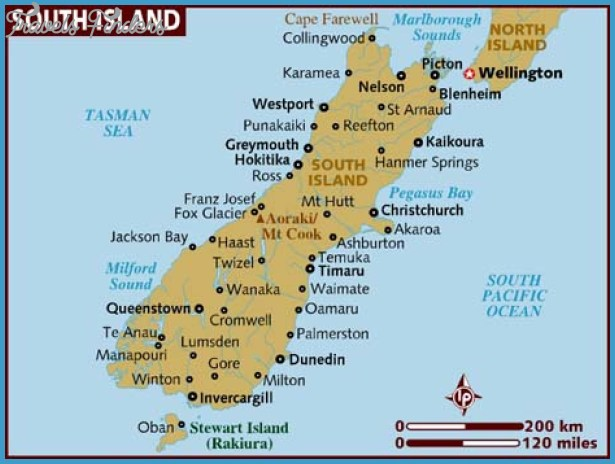 North Island Map New Zealand.Map New Zealand South Island Travelsfinders Com