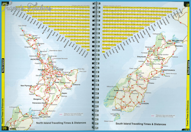 New Zealand North Island Road Map.Road Map Of New Zealand Travelsfinders Com