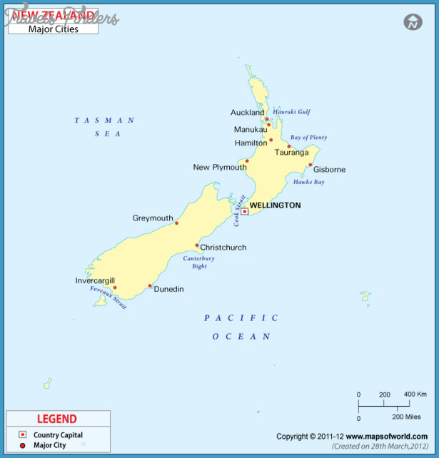 New Zealand Cities Map.Map Of Australia And New Zealand With Cities Travelsfinders Com