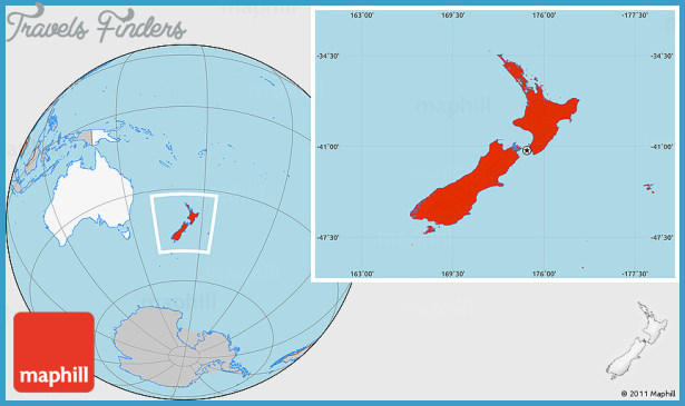 New Zealand Map Of The World.New Zealand In World Map Travelsfinders Com