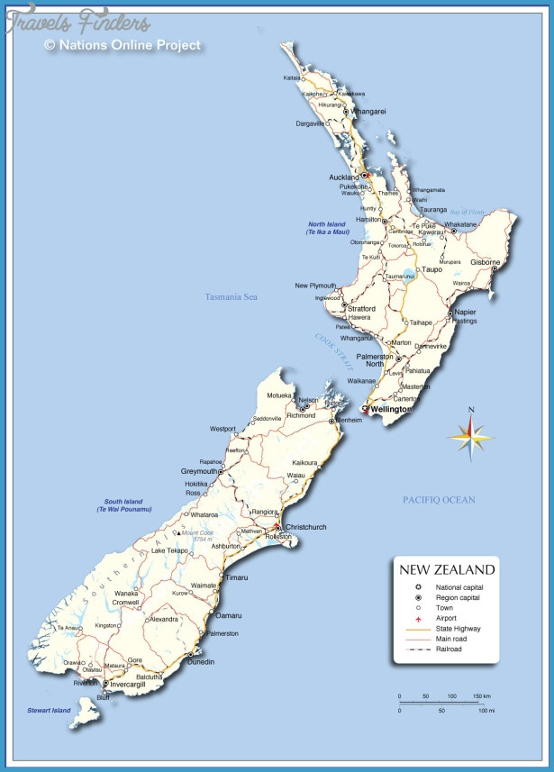 Detailed Map Of New Zealand.New Zealand Detailed Map Travelsfinders Com