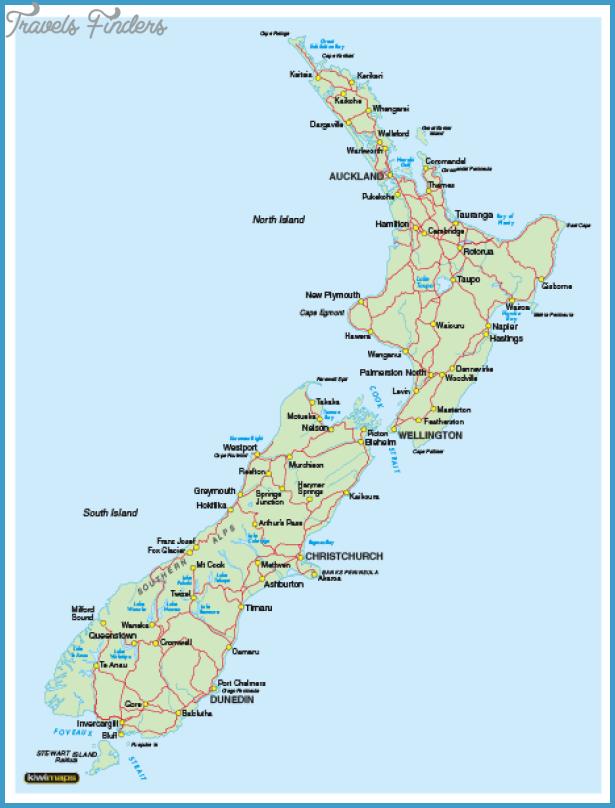 New Zealand Mountains Map.New Zealand Map Travelsfinders Com