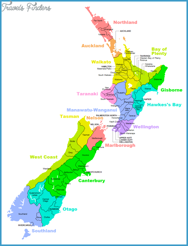Population Map Of New Zealand - TravelsFinders Com ®