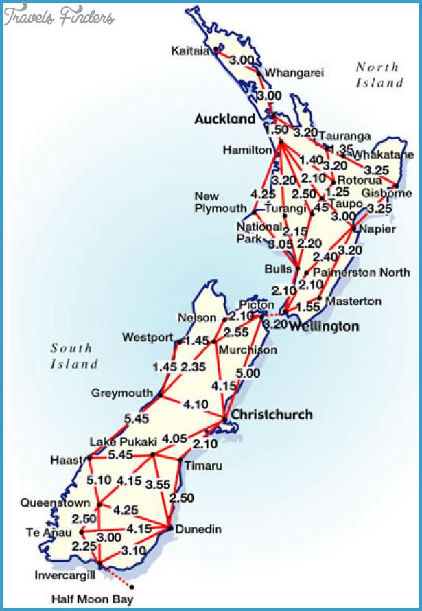 New Zealand Road Map.New Zealand Road Map Travelsfinders Com