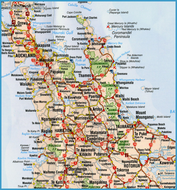 New Zealand North Island Road Map.Map Of New Zealand North Island Travelsfinders Com