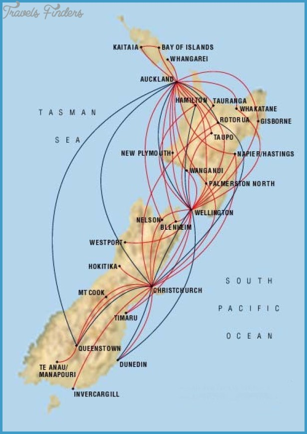 New Zealand Route Map.Air New Zealand Route Map Travelsfinders Com