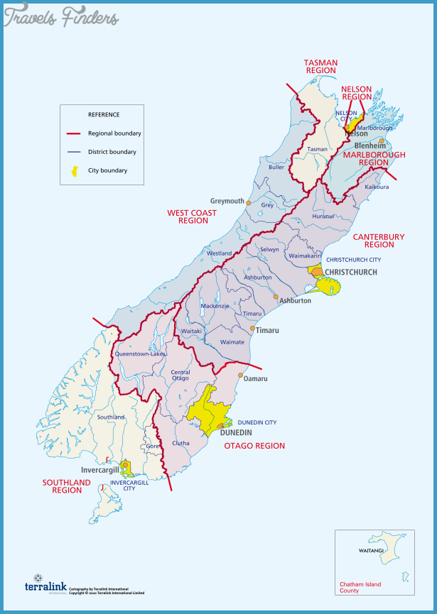 New Zealand Road Map South Island.Map New Zealand South Island Travelsfinders Com